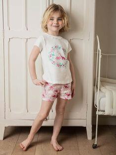 Pyjamas ecru und rosa Kind Mädchen ZEDINETTE / 21E5PF23PYJ001