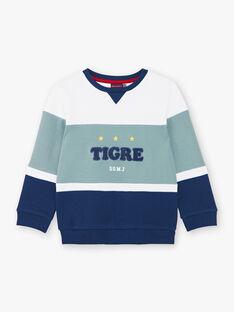 Weiß und blau gestreiftes Baumwoll-Sweatshirt ZAGRELAGE / 21E3PGI2SWE705