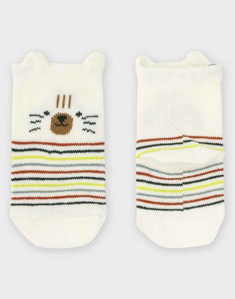 Baby-Socken mit Streifen für Jungen, ecrufarben TAARON / 20E4BGB1SOQ001