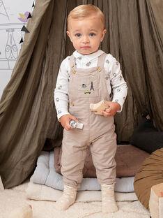 Beige Latzhose mit ausgefallenem Druck Baby Junge BADARWIN / 21H1BG21SALA013