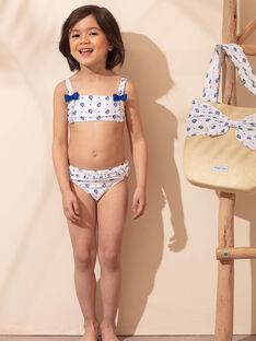 Weißer 2-teiliger Badeanzug mit blauem Blumenmuster Kind Mädchen ZAIFIETTE / 21E4PFR1D4L001