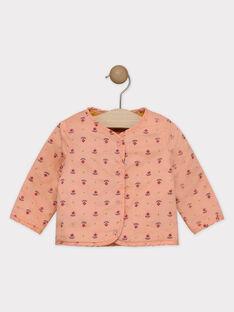 Wendbare Strickjacke senfgelb und rosa Baby Mädchen SAGROSEILLE / 19H1BF61CAR804