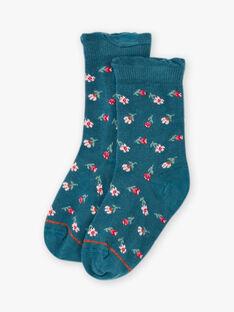 Socken für Mädchen mit blauer Blume BOPUETTE / 21H4PF91SOQ714