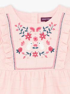 Baby Mädchen Rosa besticktes ärmelloses Kleid BAGILLY / 21H1BF91CHSD329