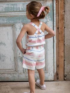 Kurze Latzhosen mit farbigen Streifen für Kinder und Mädchen ZUQOBETTE / 21E2PFT1SAC001