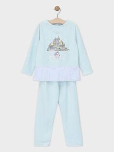 Blauer Samtschlafanzug mit Paillettenvolant kleines Mädchen SYRETTE / 19H5PFK3PYJC213