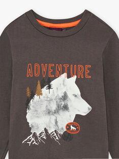 Graues anthrazitfarbenes T-Shirt für Jungen mit Wolfsaufdruck BIDIBAGE / 21H3PGJ1TMLI808