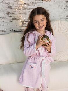 Rosa langärmeliger Bademantel mit Kapuze für Mädchen BEBOPETTE / 21H5PF61PEI307